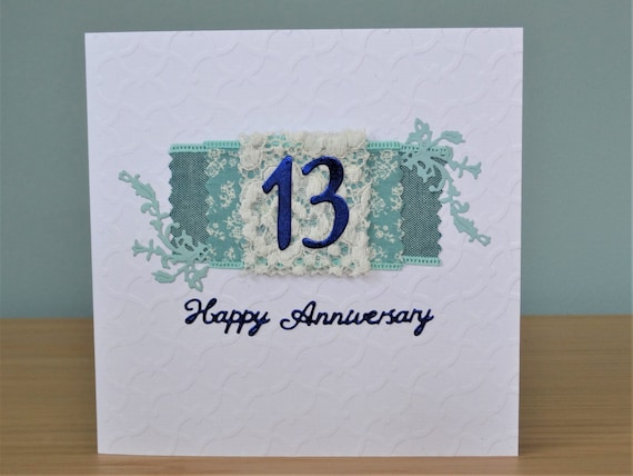 13th Year Wedding Anniversary Gifts: Handmade Greeting Card 13th Wedding Anniversary Card Lace