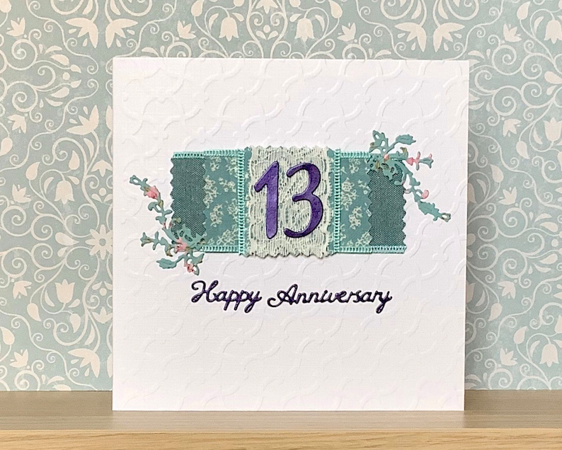 13th anniversary card lace anniversary for 13 years