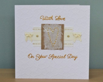 Handmade Greeting Card - With Love On Your Special Day - Wedding - Engagement - Anniversary