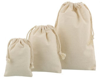 100 pieces of Small 100% Cotton Drawstring Bags in various sizes