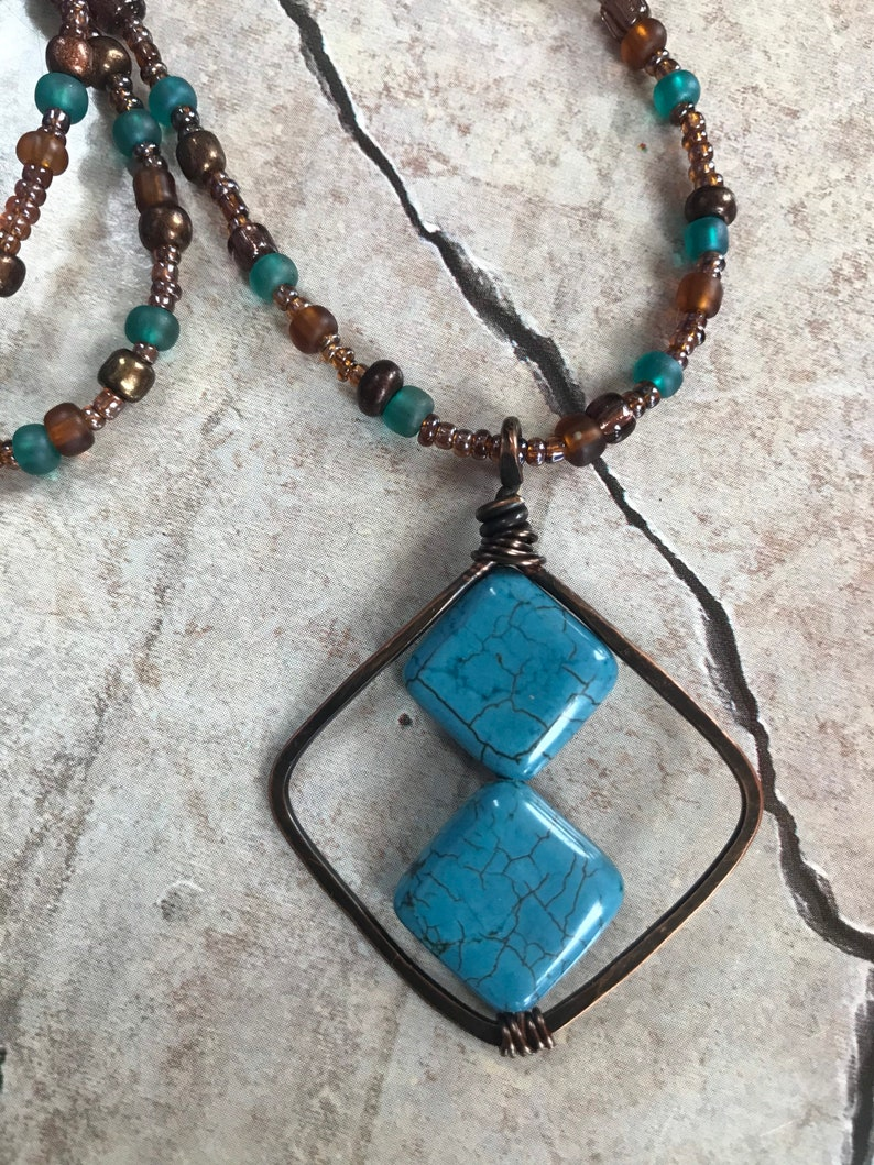 Geometric Pendant Copper and Stone Pendant Square Stone Pendant Blue and Brown Necklace