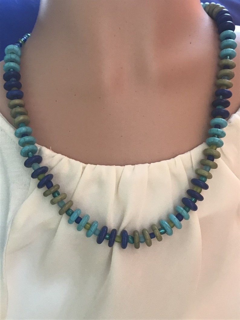 BlueGreen Necklace and Earring Set