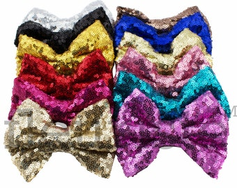 "DIY baby headband /& hair bow supplies Black large 5/"" sequin fabric bows"