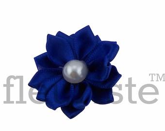 ROYAL Ribbon Flower With Pearl, Satin flower, Fabric rose, Rolled Rosette, Wholesale Flower, Fabric Flower, Satin Flower, 3pc