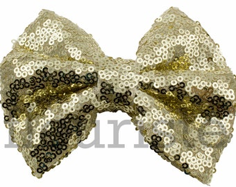 LIGHT GOLD Sequin Bow, Large Glitter Bow, Shiny Bows, Fabric Bows, diy Bows, DIY Hair Bows, Soft Bows, Wholesale Bows, Diy Headband 5 Inch