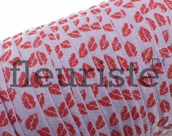 Fold Over Elastic, FOE, Foldover Elastic, Elastic By The Yard, 5/8 Elastic, Wholesale Elastic, Lavender Red Lips Elastic