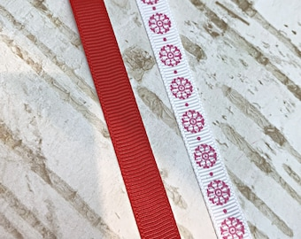 100 yards 3/8 Grosgrain Ribbon, Christmas Red, Pink Flower, For Bows Making, Handmade Supply, Wholesale,  1 Roll