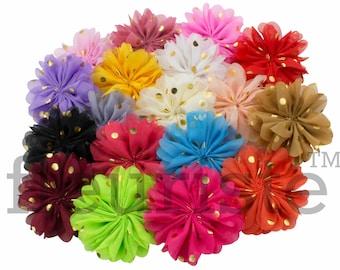 "CHOOSE 3"" Chiffon Flower with gold dot, Wholesale Flower, Fabric Flower, Headband Flower, Wedding Flower, Flower Embellishment, Diy Flower"