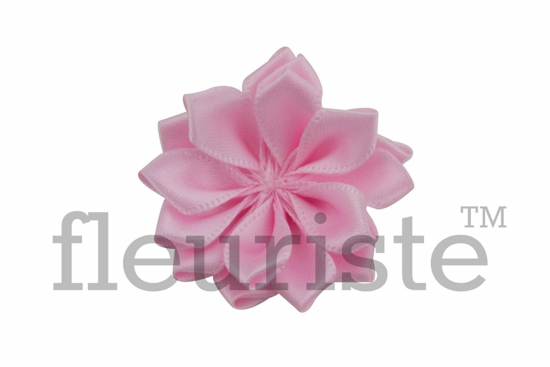 Light Pink Ribbon Flower Satin Flower Fabric Rose Rolled Etsy
