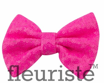 Neon Pink Sequin Bows, Large Glitter Bow, Shiny Bows, Fabric Bows, diy Bows, DIY Hair Bows, Soft Bows, Wholesale Bows, Diy Headband 5 Inch