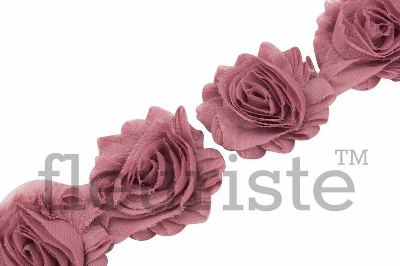 Shabby Chiffon flower Shabby Trim MAUVE  Shabby Rose Trim Shabby Flower Trim Shabby wholesale Shabby Flowers Shabby by the yard