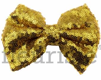 GOLD Sequin Bows, Large Glitter Bow, Shiny Bows, Fabric Bows, diy Bows, DIY Hair Bows, Soft Bows, Wholesale Bows, Diy Headband 5 Inch