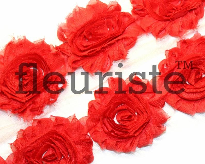 Shabby by the yard Shabby Flower Trim Chiffon flower Shabby Rose Trim Shabby Roses Red Shabby Trim Shabby wholesale Shabby Flowers