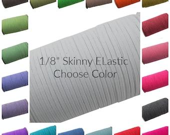 Skinny Elastic, Thin Elastic, 1/8 Elastic, Elastic Yard, Fold Over Elastic, Solid Elastic, Wholesale Elastic, Stretch, 3mm Mask Making 180 y