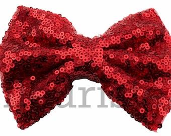 RED Sequin Bows, Large Glitter Bow, Shiny Bows, Fabric Bows, diy Bows, DIY Hair Bows, Soft Bows, Wholesale Bows, Diy Headband, 5 Inch