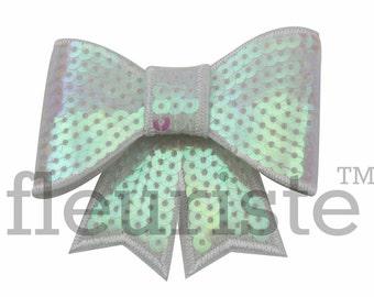 WHITE 3 inch Sequin Bows, Mini Sequin Bows, Mini Bows, Sparkly Bows, Fabric Bows, DIY Bows, Soft Bows, Wholesale Bows, Diy Headband