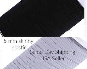 "5 mm 1/4"" Skinny Elastic, Thin Elastic, 1/4"" Elastic, Mask Making Supply, Elastic, Wholesale Elastic, 1/4  White, Black, Red, Pink, Blue"