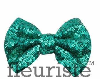 Teal Sequin Bows, Large Glitter Bow, Shiny Bows, Fabric Bows, diy Bows, DIY Bows, Soft Bows, Wholesale Bows, Diy Headband 5 Inch