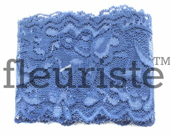 Elastic Lace, Lace Ribbon, Stretch Lace, Elastic Lace Trim, Lace by the yard, Lace Trim, Stretchy Lace, Lace Elastic, 2.25 inch wide, Navy