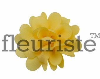 "Small Fabric Flower, Chiffon Flower, Wholesale Flower, Fabric Flower, Headband Flower, Flower Embellishment, DIY Flower, Yellow, 2"", 3 Pcs"