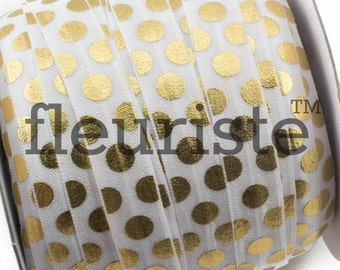 Fold Over Elastic, FOE, Foldover Elastic, Elastic By The Yard, 5/8 Elastic, Printed Elastic, Wholesale Elastic, White Gold Large Polka Dots