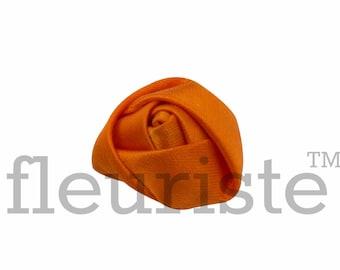 ORANGE Rosette, Satin Rolled Rosette, Fabric rose, Rolled Rosette, Wholesale Flower, Fabric Flower, Wedding Flower, Flower Embellishment