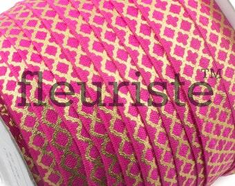Fold Over Elastic, FOE, Foldover Elastic, Elastic By The Yard, 5/8 Elastic, Printed Elastic, Wholesale Elastic, Hot Pink Gold Quatrefoil