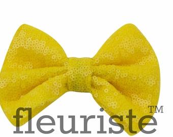 Yellow Sequin Bows, Large Glitter Bow, Shiny Bows, Fabric Bows, diy Bows, DIY Hair Bows, Soft Bows, Wholesale Bows, Diy Headband 5 Inch