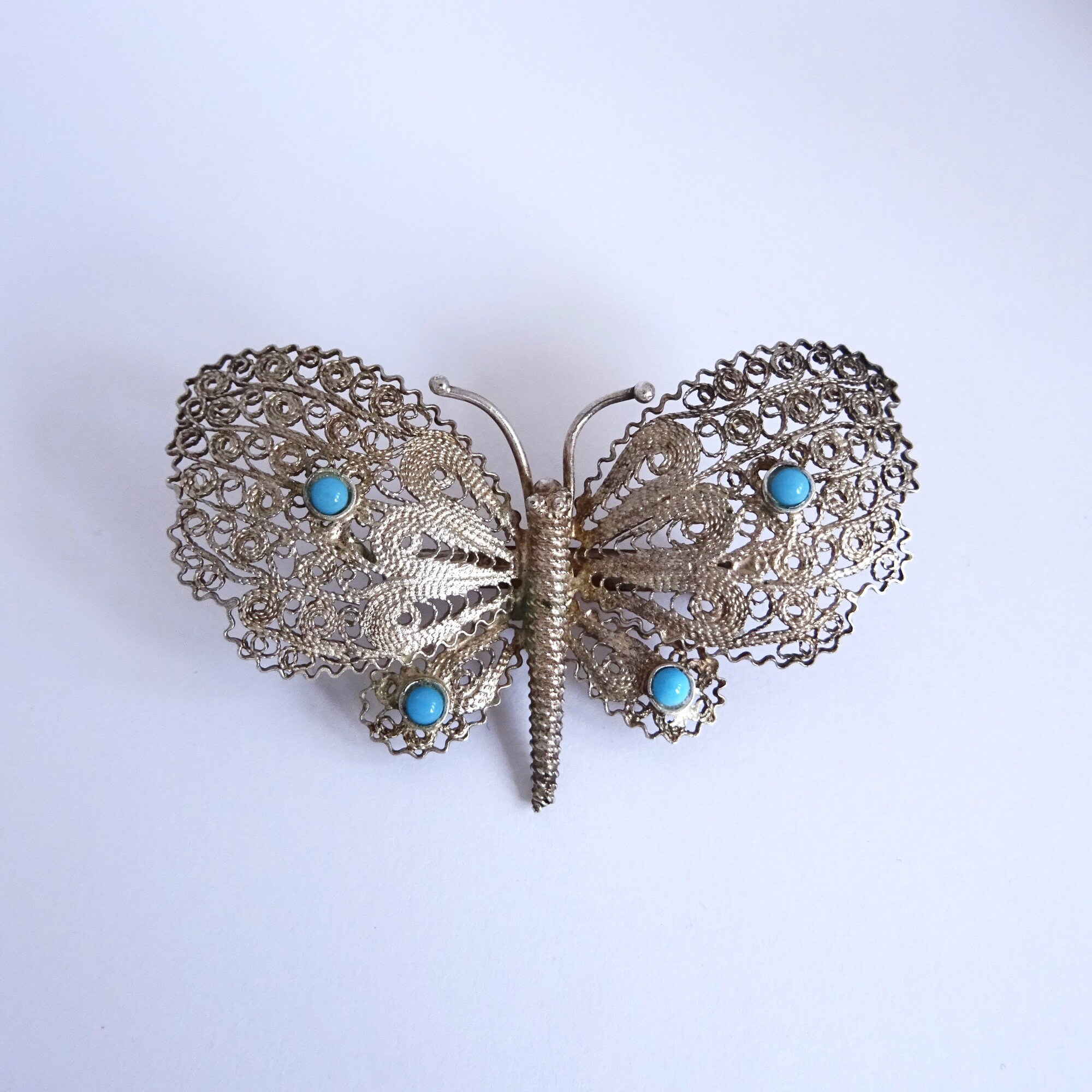Blue Glass Mexican Silver Vintage Silver Filigree Brooch