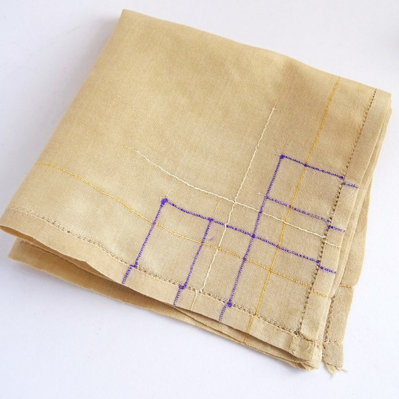 Woven Silk Pocket Square 2 Vintage 1940s Silk Hankies Natural Raw Silk with Cording Detail