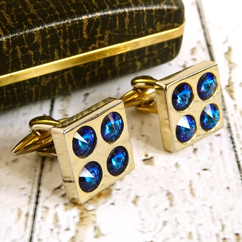 Blue Faceted Glass Mad Men Mens Retro Gift Kitsch Vintage Stratton Cuff Links Mid-Century