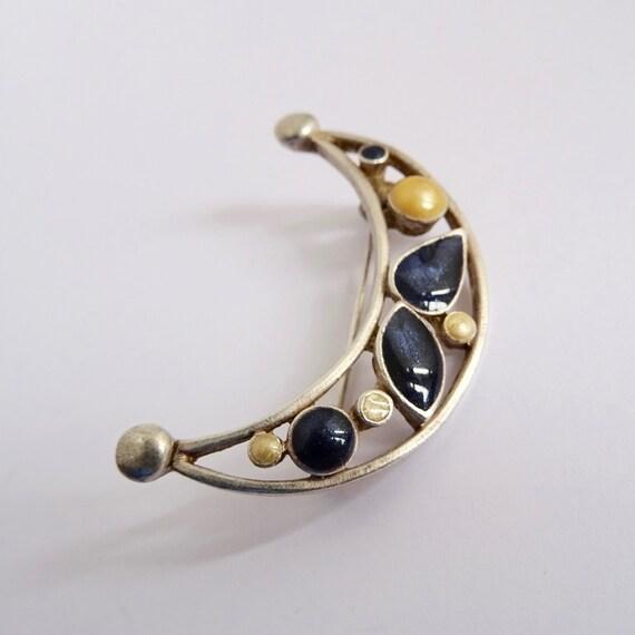 Vintage Crescent Moon Brooch, Enamel Moon Pin, Hal