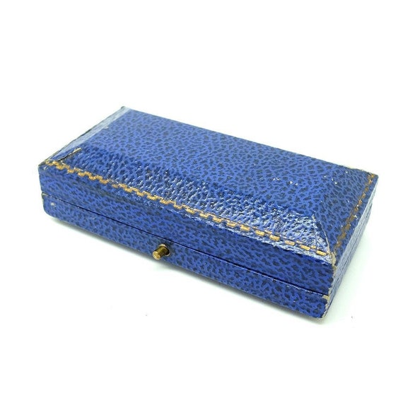 Antique Blue Leather Velvet Jewellery Box, Gift Bo