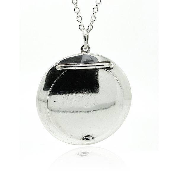 Art Deco 1920s Mirror Compact Locket Necklace