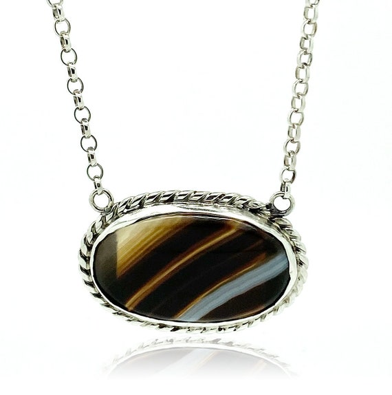 Antique Victorian Necklace | Scottish Banded Agate