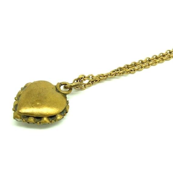 Antique Victorian Heart Necklace   Paste Heart   … - image 3