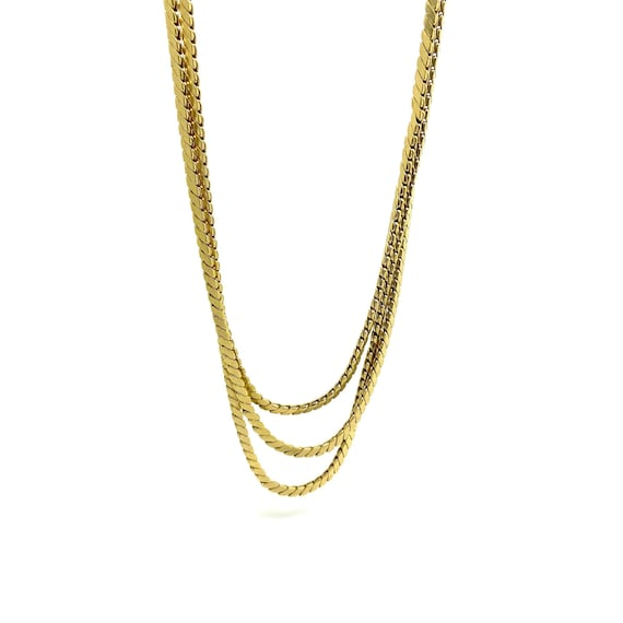 Vintage 1970s Triple Cobra Chain Necklace