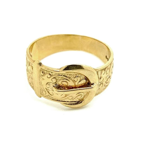 Vintage 1970s 9ct Gold Buckle Ring