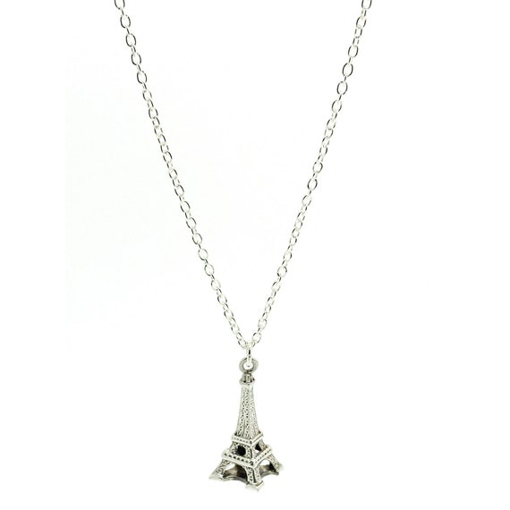 Vintage 1960s Silver Eiffel Tower Charm Necklace