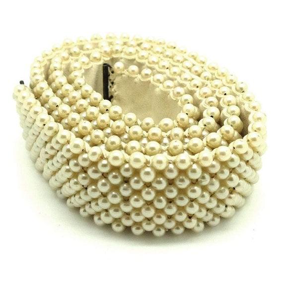 Vintage 1950s Faux Pearl Wedding Belt