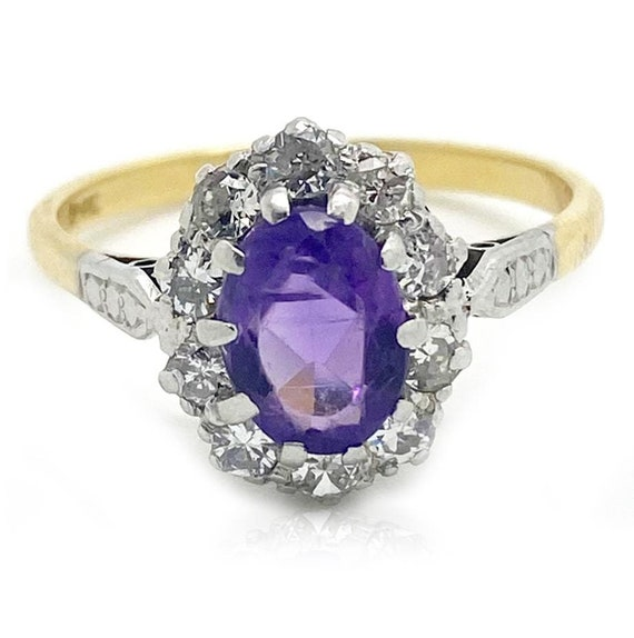 Vintage 1970s Amethyst Diamond 18ct Gold Ring