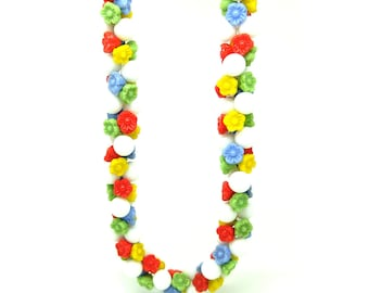 Vintage 1940s Beaded Necklace | Retro Flower Necklace | Flower Choker Necklace | Vintage Red Yellow Blue Green Necklace | Glass Necklace