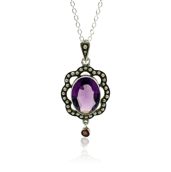 Antique Edwardian Amethyst Silver Necklace