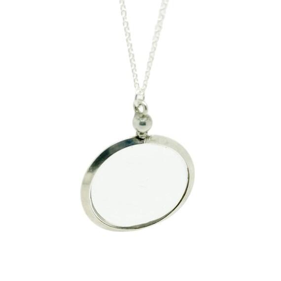 Antique Edwardian 1908 Glass Silver Locket Necklac
