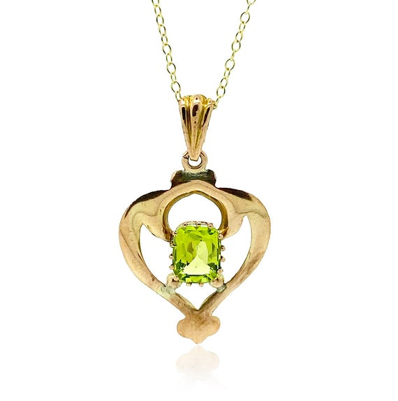 Art Nouveau 9ct Gold Heart Pendant