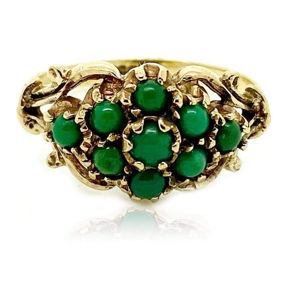 Vintage 1990s Green Turquoise 9ct Gold Ring