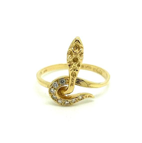 Vintage Snake Ring, Diamond Snake Ring, 1980s Gold