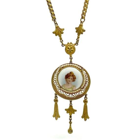 Antique Edwardian Gold Tone Lady Necklace