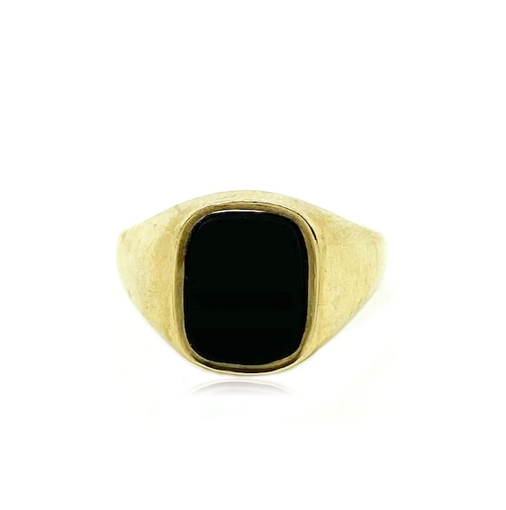 Vintage 1970s Onyx 9ct Gold Ring