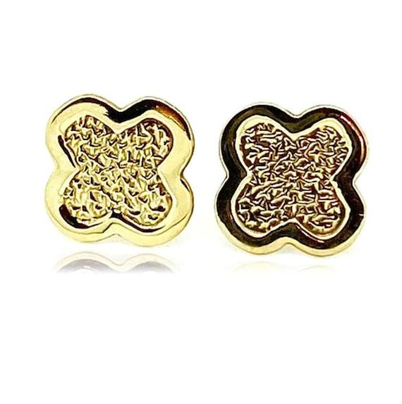Gold Stud Earrings, Vintage Earrings, 1970s Cross